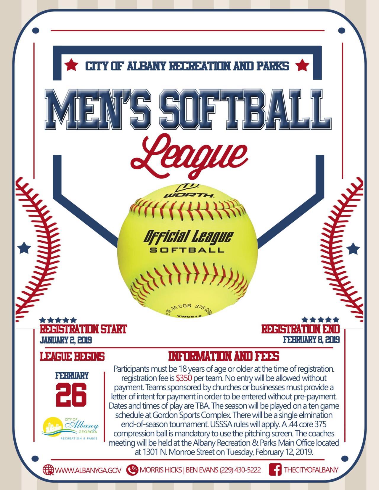 ARPD Men's Softball League Flyer 12-20 Edit