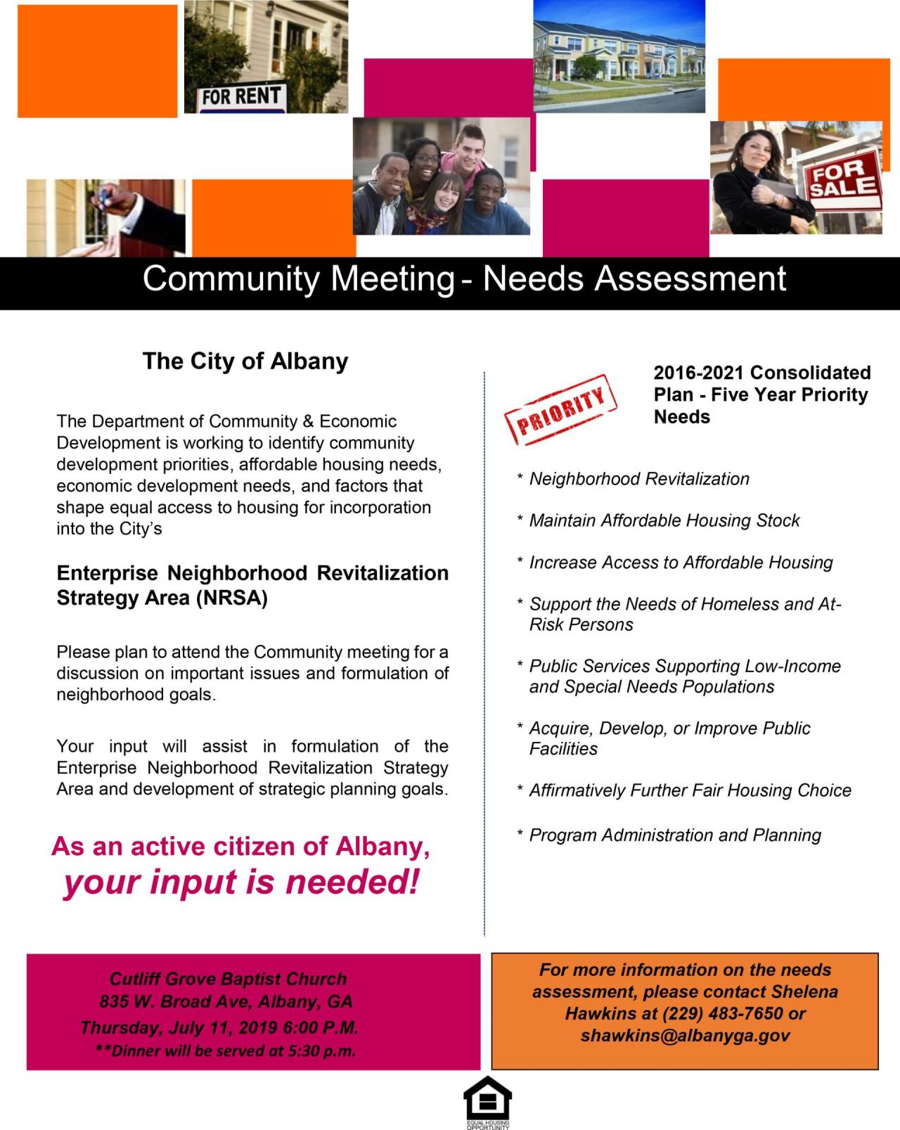 Flyer for 2019 Enterprise NRSA Community Needs Assessment Meeting - Cutliff Grove